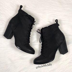 Aldo black lace up short boots